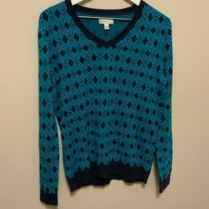 Kim Rogers Navy and Bright Blue Geometric Sweater